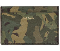 Camouflage-Print Textured-Leather Cardholder