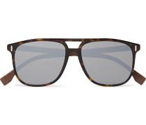 Aviator-Style Acetate Mirrored Sunglasses
