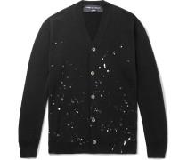Paint-Splattered Wool Cardigan