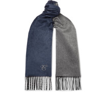 Reversible Fringed Silk and Cashmere-Blend Scarf
