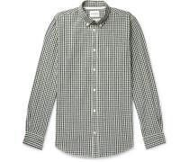 Osvald Button-Down Collar Gingham Cotton and Linen-Blend Shirt