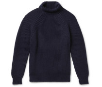 Ribbed Merino Wool Rollneck Sweater