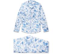 Ledbury 11 Printed Cotton Pyjama Set - Blue