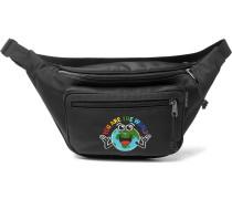 Embroidered Canvas Belt Bag - Black