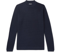 Duncan Slim-fit Ribbed Wool-blend Sweater - Navy