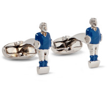 Foosball Enamelled Silver-tone Cufflinks