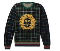 Logo-embroidered Tartan Wool Sweater - Green