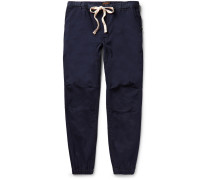 Slim-fit Tapered Cotton-blend Twill Drawstring Trousers - Storm blue