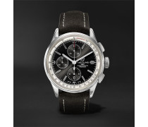 Premier Chronograph 42mm Stainless Steel And Nubuck Watch - Black