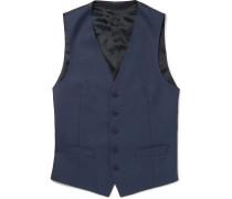 Navy Slim-fit Wool-twill Waistcoat