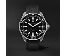 Aquaracer Quartz 43mm Steel And Rubber Watch - Black
