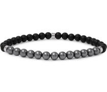 Baxter Agate, Hematite and Silver-Tone Beaded Bracelet
