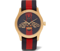 Gold-tone And Striped Webbing Watch