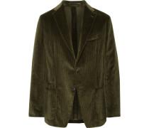 Dark-green Slim-fit Cotton-corduroy Blazer - Dark green