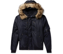 Faux Fur-trimmed Nylon-shell Down Bomber Jacket - Navy