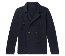 Slim-fit Double-breasted Ribbed Cashmere Cardigan - Navy