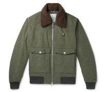 Shearling-trimmed Wool And Cashmere-blend Felt Bomber Jacket - Army green