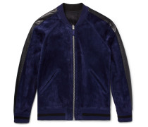 Reversible Leather-trimmed Suede And Jacquard Bomber Jacket
