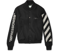 Printed Melton Virgin Wool-blend Bomber Jacket - Black