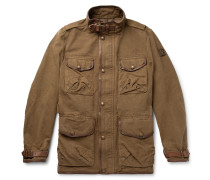 Leather-Trimmed Cotton-Canvas Field Jacket