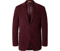 Burgundy Kei Slim-fit Cotton-corduroy Suit Jacket