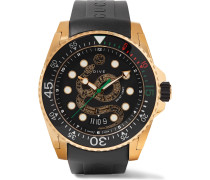 Dive 45mm Gold PVD-Coated Watch with Rubber Strap