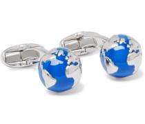 Globe Enamelled Silver-tone Cufflinks