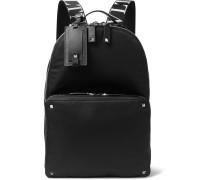 Valentino Garavani Logo-jacquard Webbing And Leather-trimmed Nylon Backpack - Black