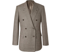 Brown Double-breasted Prince Of Wales Checked Wool Suit Jacket - Brown