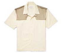 Camp-collar Satin-panelled Cotton-poplin Western Shirt - Cream