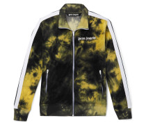 Striped Tie-Dyed Cotton-Blend Velour Track Jacket