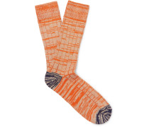 Mélange Cotton And Nylon-blend Socks