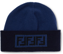 Logo-intarsia Wool And Cashmere-blend Beanie - Blue