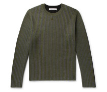 Colour-Block Ribbed Wool Sweater