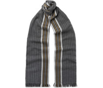 Fringed Striped Cotton Scarf - Gray