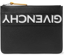 Appliquéd Full-grain Leather Pouch - Black