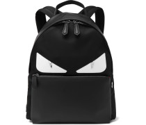 Bag Bugs Nylon And Leather Backpack - Black