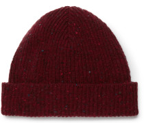 Ribbed Donegal Wool Beanie - Red