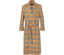 Belted Checked Wool Coat