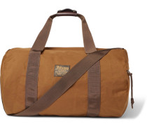 Leather-trimmed Canvas Duffle Bag - Tan