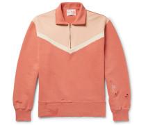 Distressed Loopback Cotton-jersey Half-zip Sweatshirt