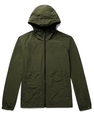 Garment-dyed Shell Hooded Jacket - Army green