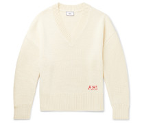Oversized Logo-Embroidered Wool Sweater
