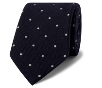 8cm Polka Dot Wool And Silk-blend Tie - Navy