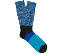 Space-dyed Stretch Cotton-blend Socks