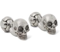 Skull Silver-tone Swarovski Crystal Cufflinks - Silver