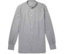 Grandad-collar Cotton And Cashmere-blend Shirt - Gray