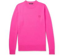 Nalon Face Appliquéd Wool Sweater - Pink
