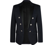 Navy Slim-fit Double-breasted Satin-trimmed Cotton-blend Blazer - Navy