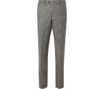 Grey Neruda Slim-fit Houndstooth Virgin Wool Suit Trousers - Gray
